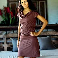 Cotton dress, 'Casual Chocolate' - Casual Drop Waist Cotton Dress