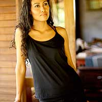 Cotton tank top, 'Carefree Black' - Basic Cotton Tank Top from Indonesia