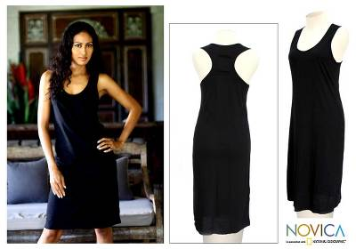 Cotton sundress, 'Classic Black' - Cotton Sundress from Indonesia