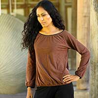 Cotton blouse, 'Carefree Cinnamon' - Cotton blouse