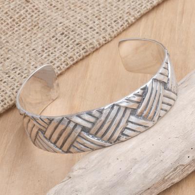 Sterling silver cuff bracelet, 'Bamboo Weave' - Sterling silver cuff bracelet