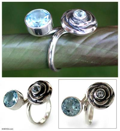 Blue topaz wrap ring, 'The Rose' - Blue topaz wrap ring