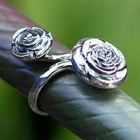 Sterling silver wrap ring, 'Roses' - Sterling silver wrap ring