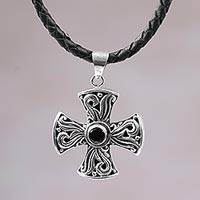 Men's garnet cross necklace, 'Fire of Faith' - Men's Sterling Silver and Garnet Cross Necklace