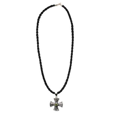 Men's peridot cross necklace, 'Light of Faith' - Men's Sterling Silver and Peridot Cross Necklace