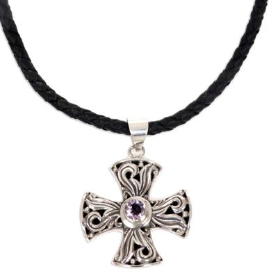 Men's amethyst cross necklace, 'Glow of Faith' - Men's Fair Trade Silver and Amethyst Cross Necklace