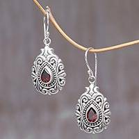 Garnet dangle earrings, 'Crimson Tear' - Garnet Sterling Silver Dangle Earrings