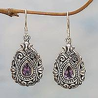 Amethyst dangle earrings, 'Lilac Tear' - Amethyst dangle earrings