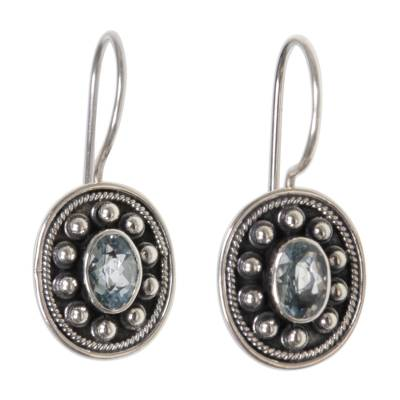 Blue topaz drop earrings, 'Harmony' - Blue topaz drop earrings