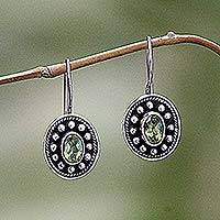 Peridot drop earrings, 'Harmony' - Peridot Sterling Silver Drop Earrings