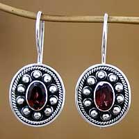 Garnet drop earrings, 'Harmony' - Garnet drop earrings