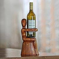 Wood wine bottle holder, 'Embrace' - Hand Carved Nude Figure Wine Bottle Holder