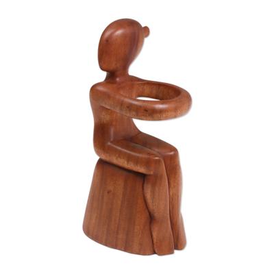 Wood wine bottle holder, 'Embrace' - Hand Carved Nude Figure Wine Bottle Holder