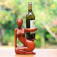 Wood wine bottle holder, 'Hostess'