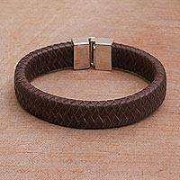 Men's leather bracelet, 'Steadfast' - Men's Brown Leather Bracelet