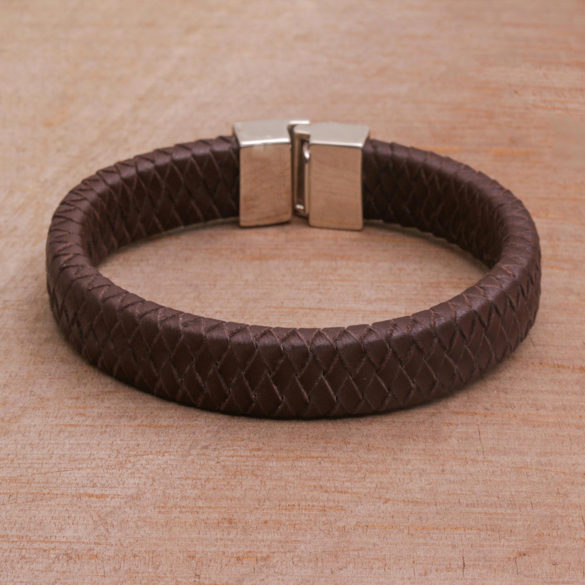 Men S Brown Leather Bracelet Steadfast