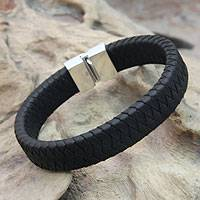 Men's sterling silver and leather bracelet, 'Courage' - Men's Braided Leather Bracelet