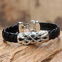 Men's sterling silver and leather braided bracelet, 'Infinity'