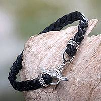 Men's leather braided bracelet, 'Time'