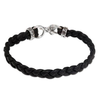 Men's leather braided bracelet, 'Time' - Men's Leather Braided Bracelet
