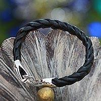 Men's sterling silver and leather bracelet, 'Cobra'