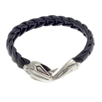 Men's sterling silver and leather bracelet, 'Cobra' - Men's Black Leather Snake Bracelet