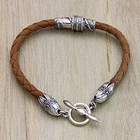 Men's sterling silver and leather bracelet, 'Feather'