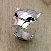 Men's onyx ring, 'Jaguar'