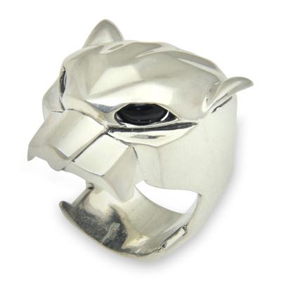 Men's onyx ring, 'Jaguar' - Men's Sterling Silver and Onyx Jungle Cat Ring