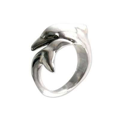 Sterling silver wrap ring, 'Dolphin Embrace' - Artisan Crafted Sterling Silver Wrap Ring