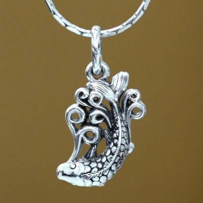 Men's sterling silver necklace, 'Koi' - Men's sterling silver necklace