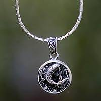 Men's sterling silver necklace, 'Lucky Koi' - Sterling Silver Fish Medallion Necklace from Bali