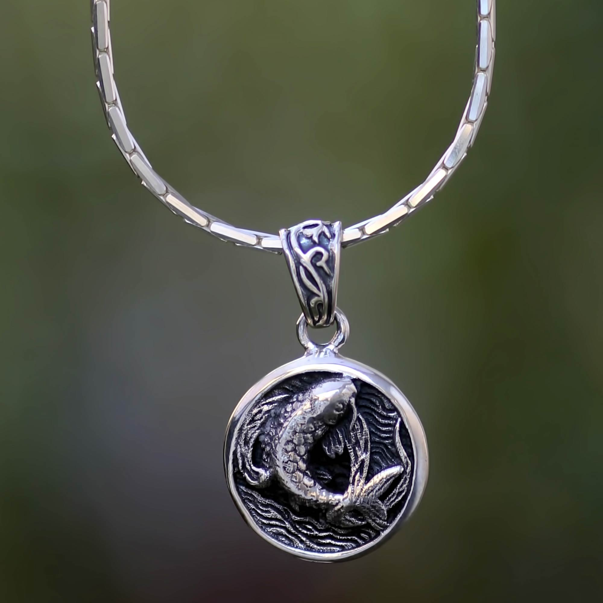 Unicef market sterling silver fish medallion necklace from bali win 3 artisans profit aloadofball Image collections