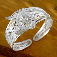 Sterling silver cuff bracelet, 'Jasmine Perfection'