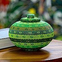 Beaded rattan basket, 'Tropical Glamour' - Green Beadwork Rattan Basket