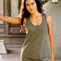 Cotton tank top, 'Classic Olive' - Green Knit Tank Top