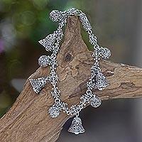 Sterling silver charm bracelet, 'Singing Bells' - Women's Sterling Silver Buddha Curl Bracelet