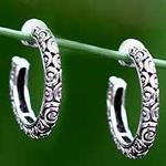 Sterling Silver Half Hoop Earrings (Medium), 'Cloud Hoop'