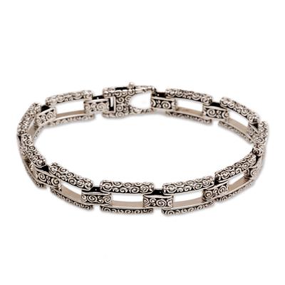Sterling silver link bracelet, 'Cloud Climber' - Sterling silver link bracelet