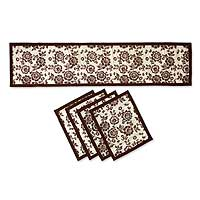 Natural fibers table runner and placemats, 'Brown Blossom Boogie' (set for 4) - Floral Table Runner and Placemats (Set for 4)