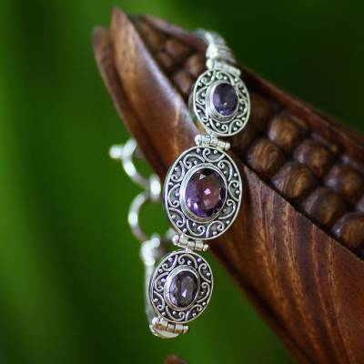 Amethyst pendant bracelet, 'Tradition' - Amethyst Sterling Silver Link Bracelet