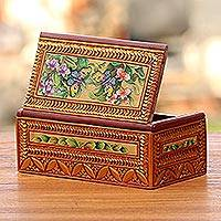 Wood jewelry box, 'Butterflies in Paradise' - Wood jewelry box
