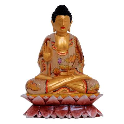 Wood statuette, 'Buddha with Butterflies' - Hand Painted Crocodile Wood Sculpture