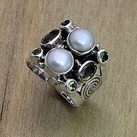 Pearl and peridot ring, 'Gentle Day' - Sterling Silver and Multigem Cocktail Ring from Java