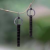 Ebony drop earrings, 'You' - Ebony drop earrings