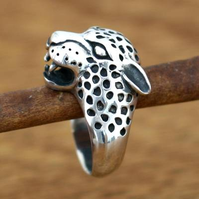 66102ccff7243 Men's Sterling Silver Ring from Indonesia, 'Leopard'
