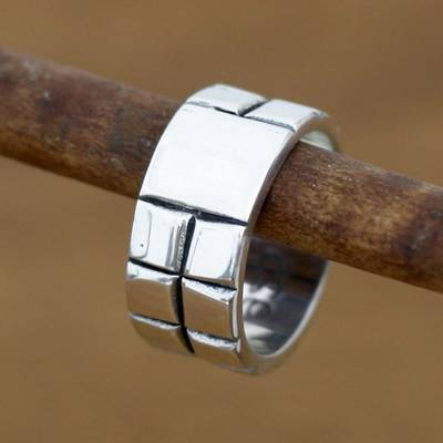 Men's sterling silver ring, 'Building Blocks' - Men's Fair Trade Sterling Silver Band Ring from Indonesia
