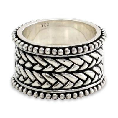 Men's sterling silver ring, 'Woven Wonder' - Men's Unique Sterling Silver Band Ring