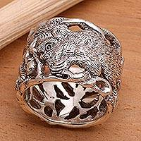 Men's sterling silver ring, 'Gorilla' - Men's Sterling Silver Ring