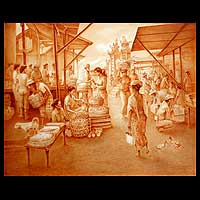 'Market I' (2007) - Market Scene Painting from Indonesia